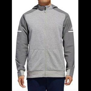 NWT Adidas Squared Full Zip Gray Hooded Jacket 2XL